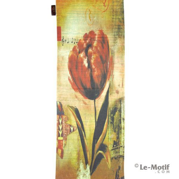 Палантин Le Motif из шерсти и хлопка. Картина-цветочная нота.