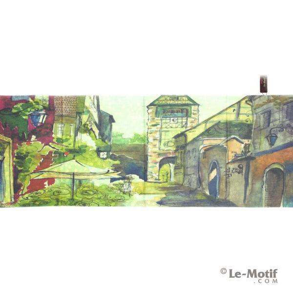 Палантин Le Motif из шерсти и хлопка. Картина-южный дворик.