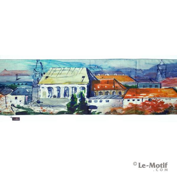 Шарф Le Motif из шерсти и хлопка. Пейзаж провинциального города