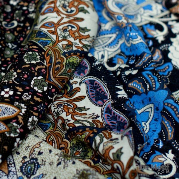 Платок Le Motif из шёлка и хлопка. Фото ткани, арт. S150-3