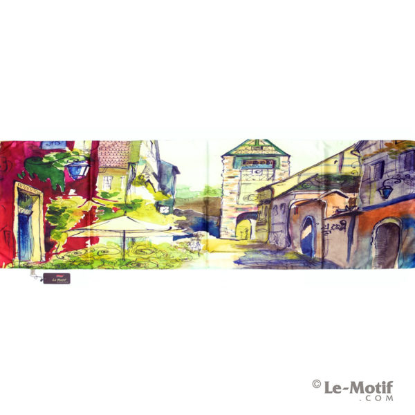Палантин Le Motif из хлопка с вискозой. Картина-южный дворик.