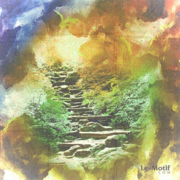 Платок Le Motif из шерсти и хлопка. Картина-лесные ступеньки, 15GF402